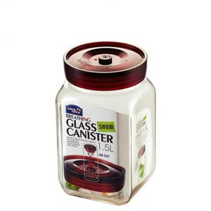 樂扣樂扣單向排氣閥玻璃密封罐1.5L