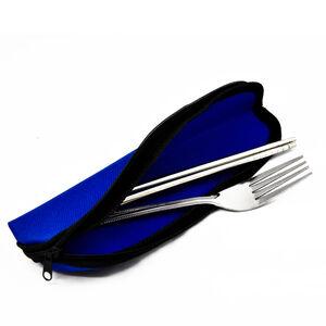 【餐具】森活不鏽鋼筷叉組-拉鍊袋