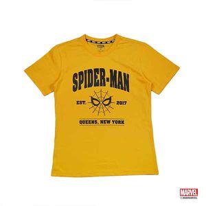 蜘蛛人字母款印花短袖T恤-橘色