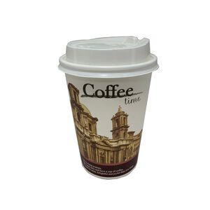 【免洗餐具】簡約食尚12盎司咖啡紙杯附蓋