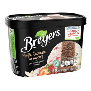 Breyers Vanilla Choco. Straw. Ice Cream