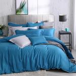 銀纖維60支天絲加大床包兩用被組, 藍色, large