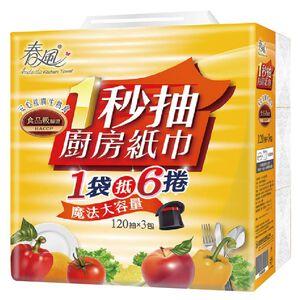 春風抽取式廚房紙巾120PCx3