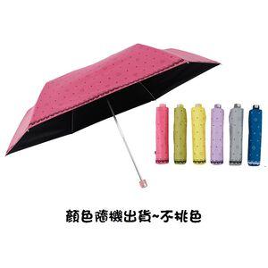 水玉愛心黑膠-三折超輕量蛋捲傘