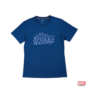 蜘蛛人字樣短袖T恤-藍色