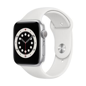 AppleWatch S6 GPS 44mm-M00D3TA/A(銀色鋁金屬錶殼/白色運動型錶帶)