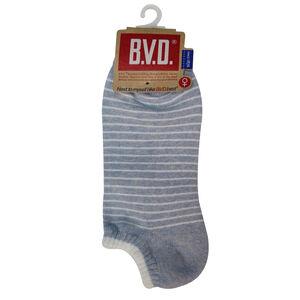 BVD條紋毛巾底女踝襪(麻天籃)