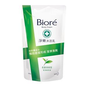 Biore淨嫩沐浴乳清爽型補充包(潔淨綠茶香)700g潔淨綠茶香