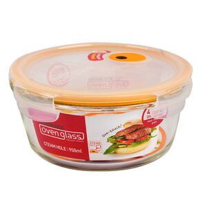 樂扣輕鬆熱玻璃保鮮盒950ml(圓)