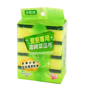 Scouring pad with sponge