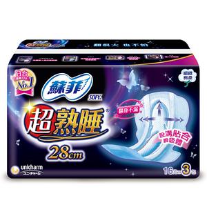 蘇菲超熟睡夜用細緻棉柔28cm(16片)