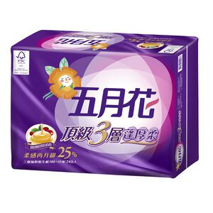 五月花蓬厚柔三層抽取衛生紙-110PC