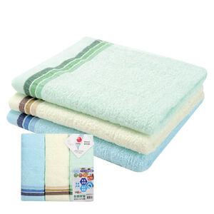 全棉彩條毛巾3入(顏色隨機出貨)